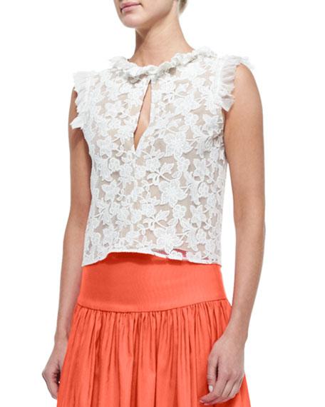 f7a91eaf49a Alexis Fran Ruffle-Trim Lace Crop Top & Musan High-Waist Maxi Skirt