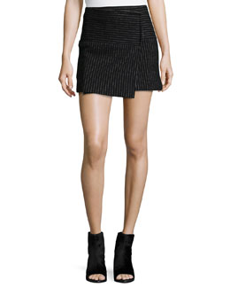 Lennon Shimmery Pinstripe Wrap Skirt