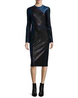 Long-Sleeve Metallic Colorblock Dress, Black/Dusk Blue