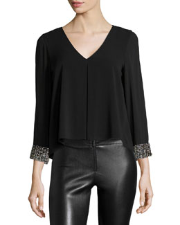 Bead-Trim Catriona V-Neck Top, Black