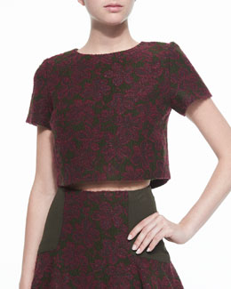 Sarina Short-Sleeve Jacquard Crop Top, Merlot