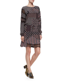 Lace-Sleeve Silk Tie-Waist Dress