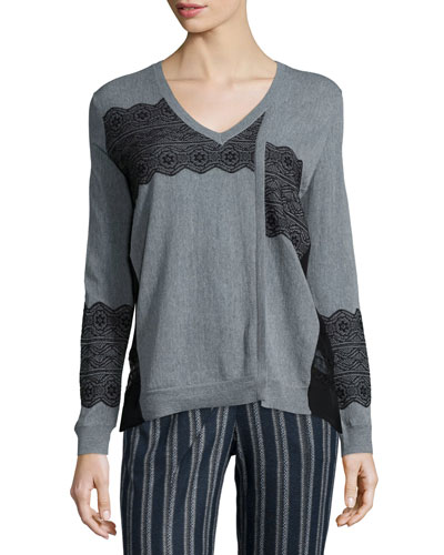Lace-Trim V-Neck Pullover Sweater, Charcoal/Black