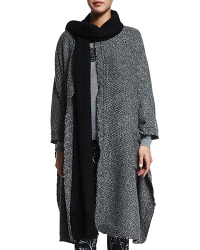Raw-Edge Wool-Blend Long Cape, Charcoal