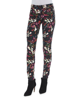 Jane Fall Garden Skinny Jeans, Black/Multicolor