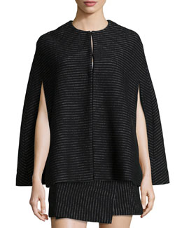 Kingsley Pinstripe Cape, Black/White