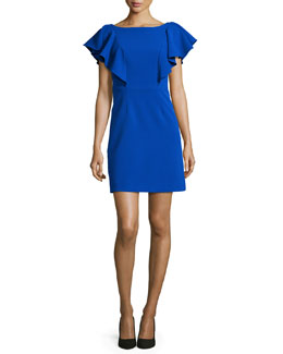 Double-Weave Ruffle-Sleeve Dress