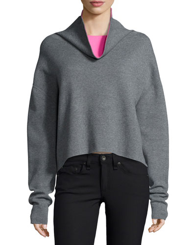 Reversible Pullover Sweater, Gray/Pink