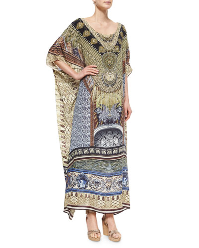 Printed Beaded Round-Neck Caftan Coverup