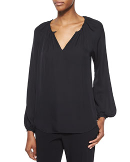 Marnie Long-Sleeve Silk Top, Black