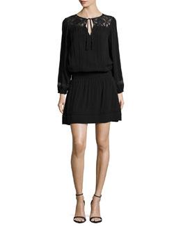 Linza Lace-Inset Dress, Caviar