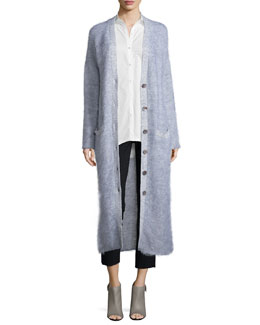 Long Button-Front Cardigan