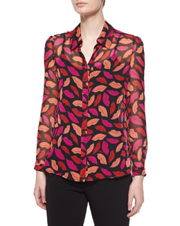 Mariah Midnight Kiss Silk Blouse, Black/Multicolor