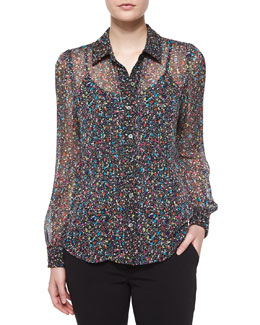 Mariah Splatter-Print Silk Blouse, Black/Multicolor