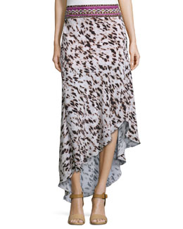 Bead-Waist Asymmetric Silk Skirt