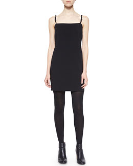 Fitted Frayed-Strap Crepe Dress