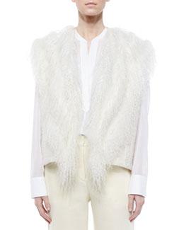 Fur-Trim Knit Vest