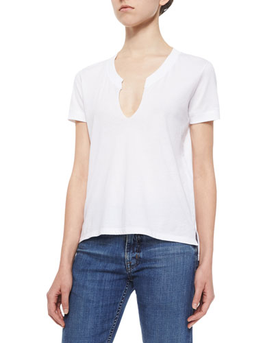 Split-Neck Cotton Tee