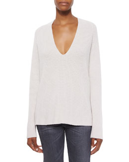 Ribbed V-Neck Merino/Cashmere Sweater