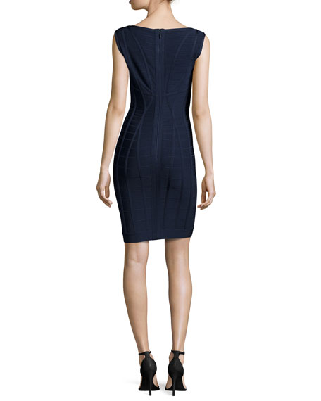 Sleeveless Above-Knee Bandage Dress, Pacific Blue