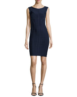 Sleeveless Above-Knee Bandage Dress, Pacific Blue