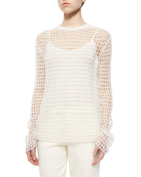 Hand-Knit Open Crochet Sweater, Off White
