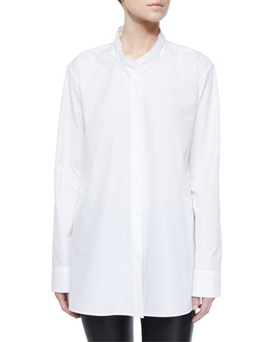 Asymmetric Overlap Long-Sleeve Shirt