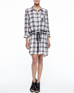 Marcy Plaid Tie-Waist Shirtdress, Bordeaux