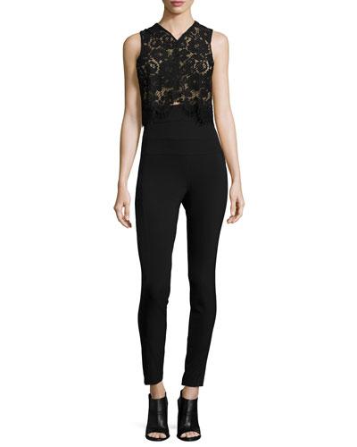 Wright Lace High-Waist Jumpsuit, Black