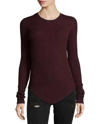 Serena Ribbed Knit Top, Burgundy
