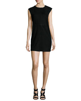 Gamma Leather Mini Dress, Black