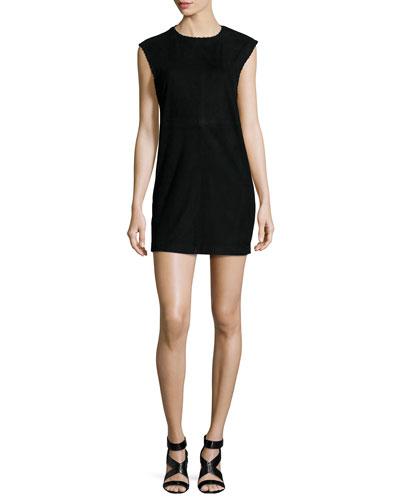 Gamma Leather Mini Dress, Black