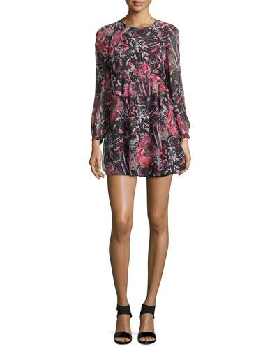 Deylfe Floral-Print Silk Mini Dress