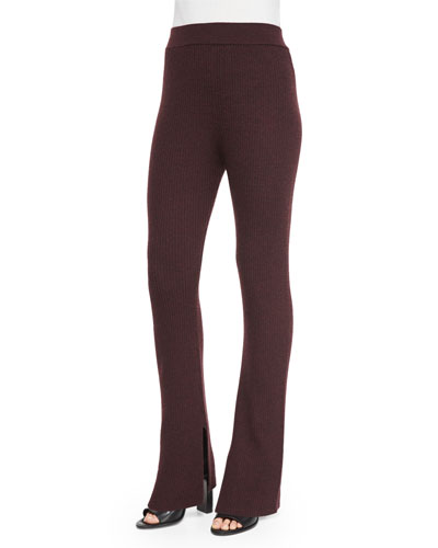 Shipp Ribbed Knit Flare Pants, Burgundy