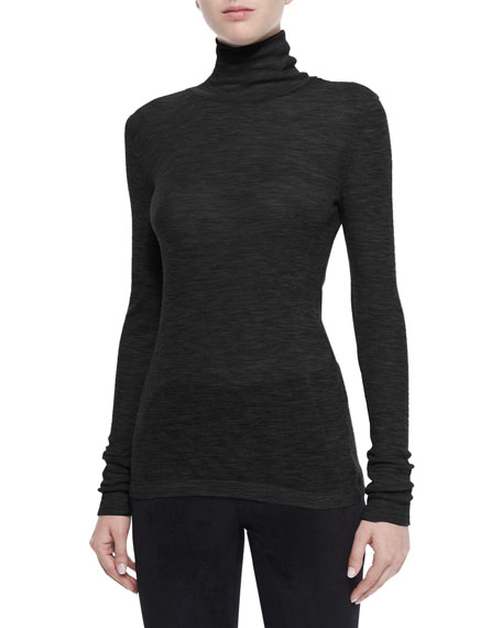 T by Alexander Wang Sheer Wooly Ribbed Turtleneck