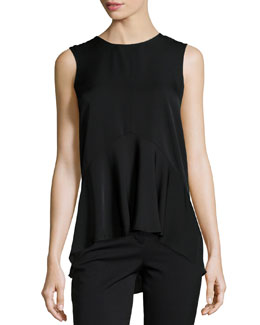 Laycee Arched-Hem Silk Top