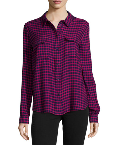 Trudy Long-Sleeve Check Shirt, Red/Navy
