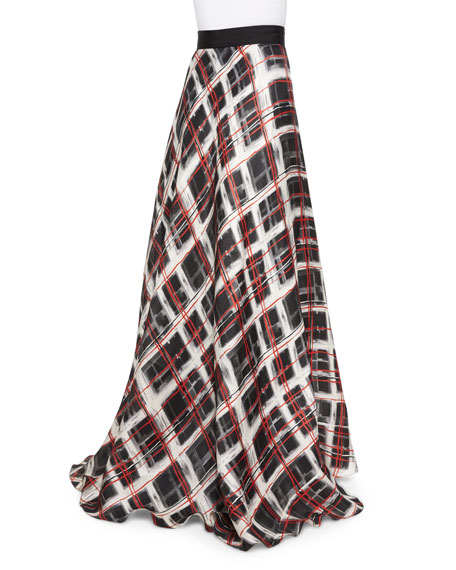 Plaid Satin Ball Skirt, Black/Ivory