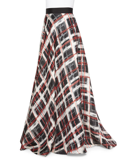 Plaid Satin Ball Skirt, Black/Ivory