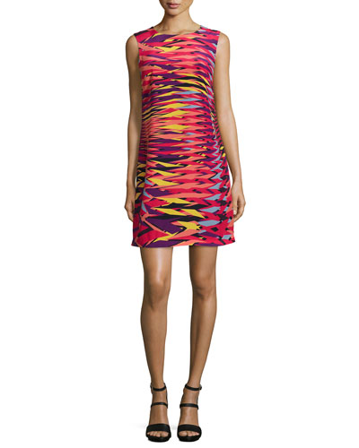 Sleeveless Frequency-Print Shift Dress