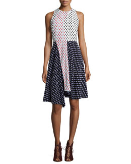 Parton Printed Colorblock A-Line Dress