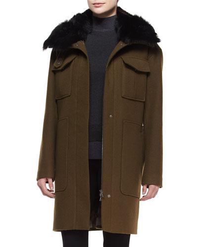 Yvoia Bolton Coat W/Fur Trim, Army