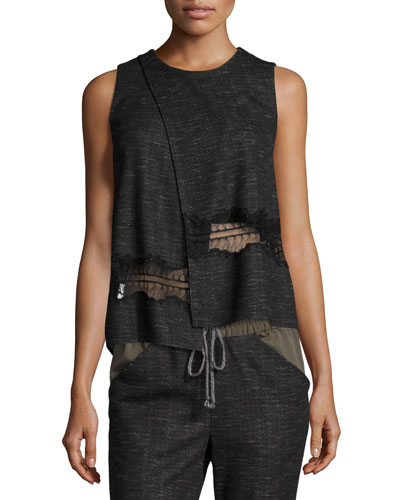 Crossover Lace-Trim Tank, Charcoal