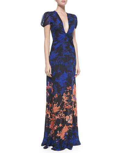 Adrienne Twist-Front Floral Daze Maxi Dress, Black/Multicolor