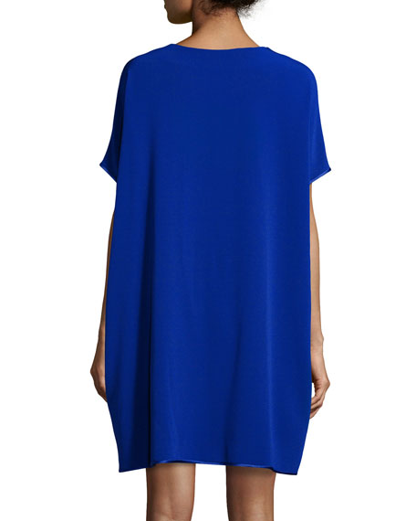Kora Short-Sleeve Shift Dress, Cosmic Blue