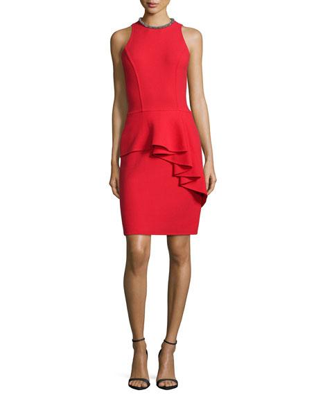Sleeveless Ruffled Peplum Cocktail Dress