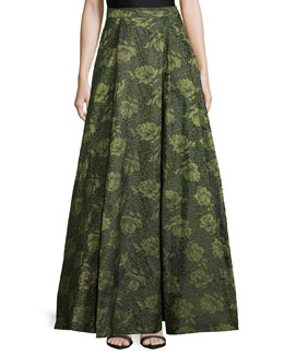 Floral Jacquard High-Low Skirt