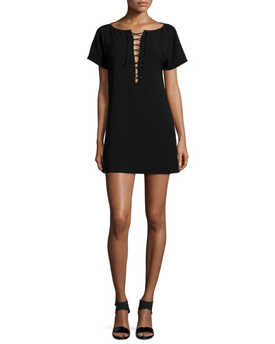 Rheyan Lace-Up Dress, Black