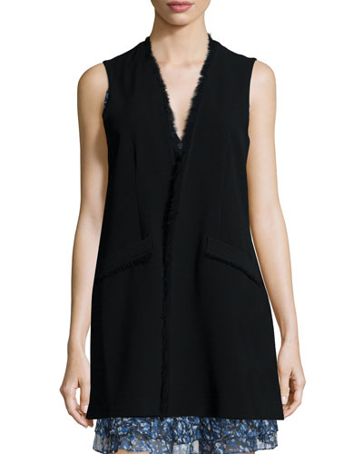Hannover Frayed-Edge Long Vest, Black