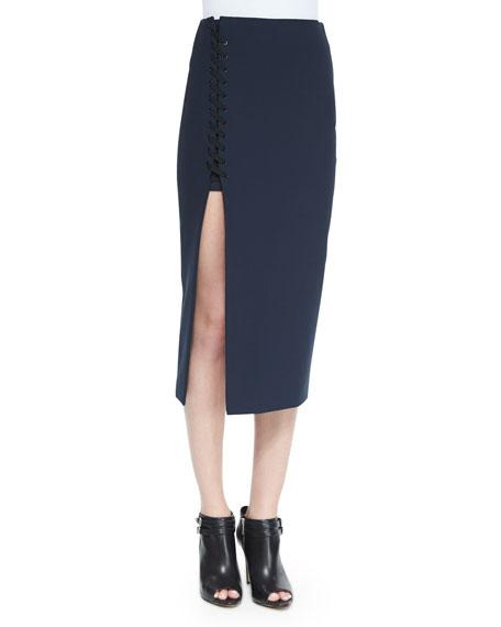 Kennedi Lace-Up Midi Skirt, New Navy
